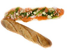 Partyfood Lachsbaguette